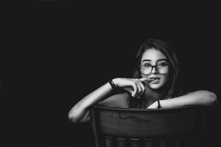 Black Background Dark Black Black And White Check Shirt Female Girl Girl In Shirt Girl With Book Girl With Cigarette Girl With Glasses Indoors  Red Bra