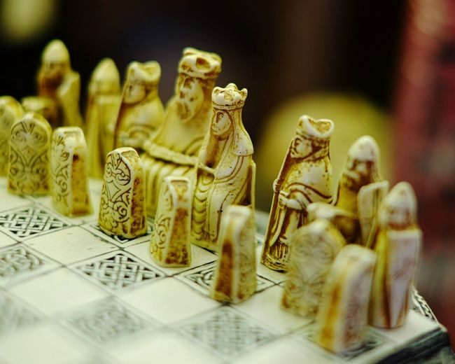 Close-up of old-fashioned chess board