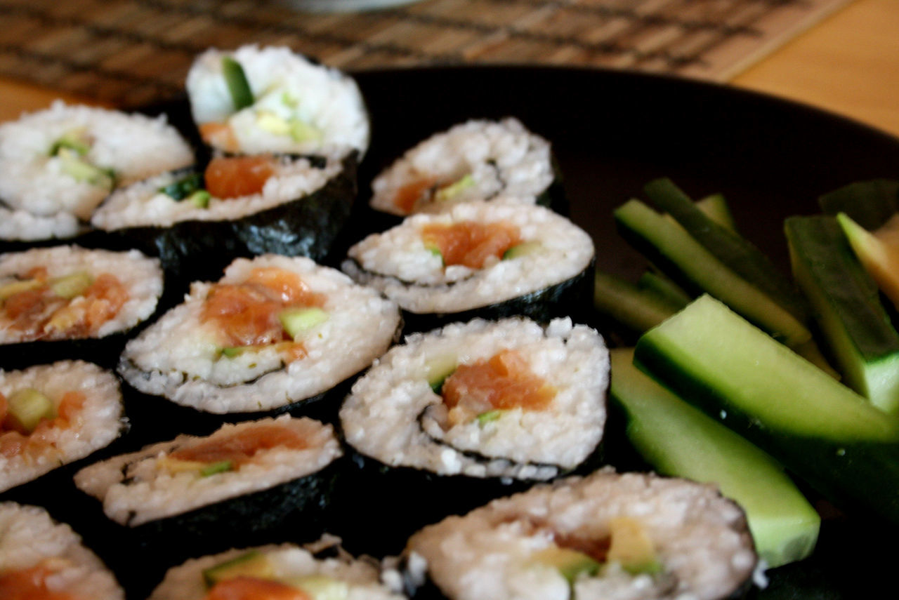 food and drink, food, freshness, healthy eating, indoors, seafood, selective focus, table, serving size, sushi, ready-to-eat, no people, slice, close-up, day