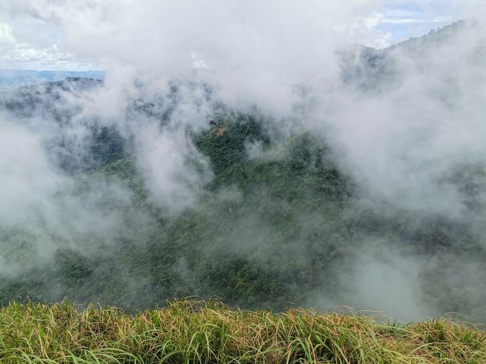 Beauty In Nature Scenics - Nature Smoke - Physical Structure Landscape Mountain Non-urban Scene Tranquil Scene Environment Plant Nature No People Day Tranquility Cloud - Sky Sky Land Geology Outdoors Volcano Erupting Power In Nature