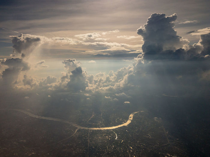 Aerial view of cloud above Chao Phraya River. Bangkok, Thailand Cloud - Sky Nature Aerial View Day Outdoors Environment Aerial Bangkok Thailand High Angle View River Chao Phaya River Thai Cloud Dust Polution City Capital Cities  Fly High Metropolis Climate