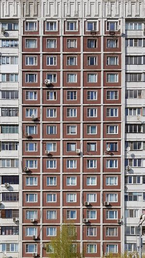 Low angle view of tower-block buildings in city of moscow