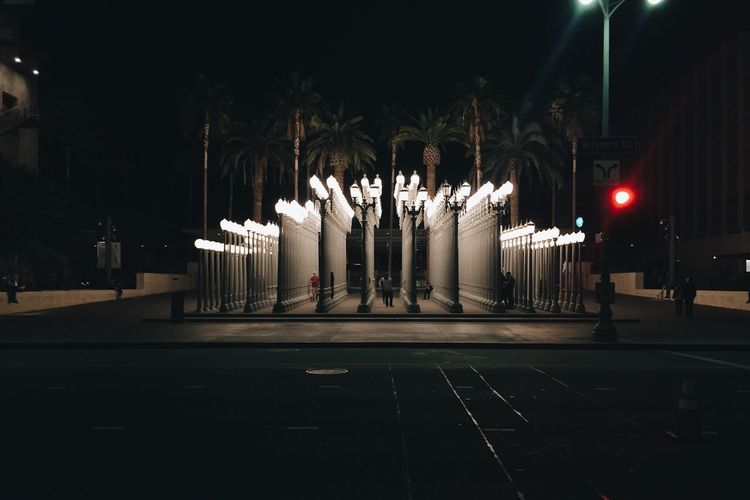 Red Light at Urban Light Urban Light Night Lights Palm Trees Red Light Vscocam Night Traveling