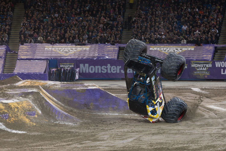 Jump Monster Jam Monster Trucks Communication Day One Person Outdoors People Stadium Text Truck Trucks