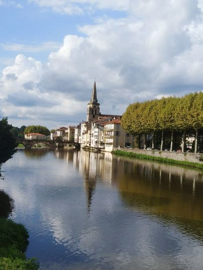 Reflections France Saint-girons Occitania River Cityscape Water City History Blue Sky Architecture Building Exterior Cloud - Sky