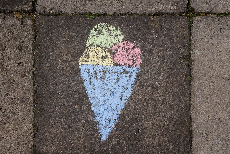 a chalkdrawing with icecream on street Asphalt Chalkdrawings High Angle View Icecream Kidsdrawing Sign Street Symbol