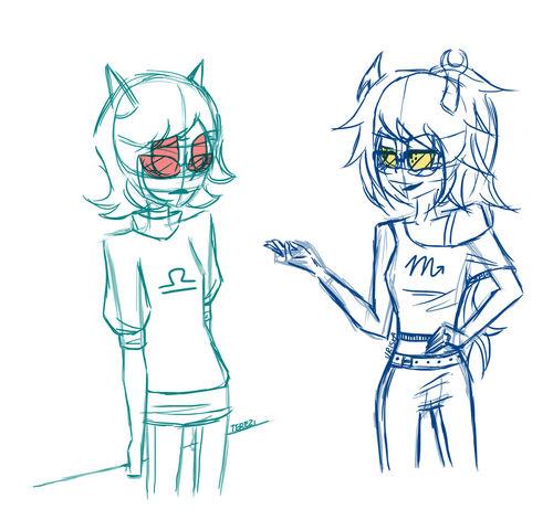 I just doodled Vriska and Terezi.. Homestuck My Drawings Drawing Doodle