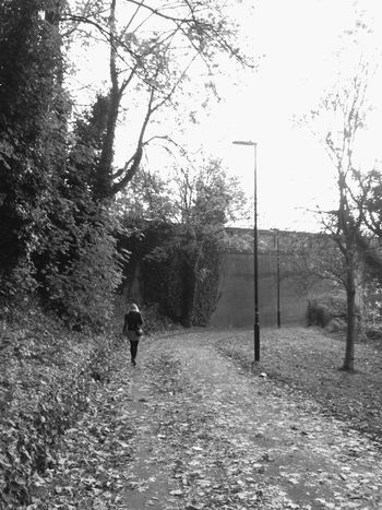 Walking in the city 🌃 Walking One Person Rear View Road Nature Day Woman Outdoors Real People Atmospheric Path Tranquility Black And White Photography