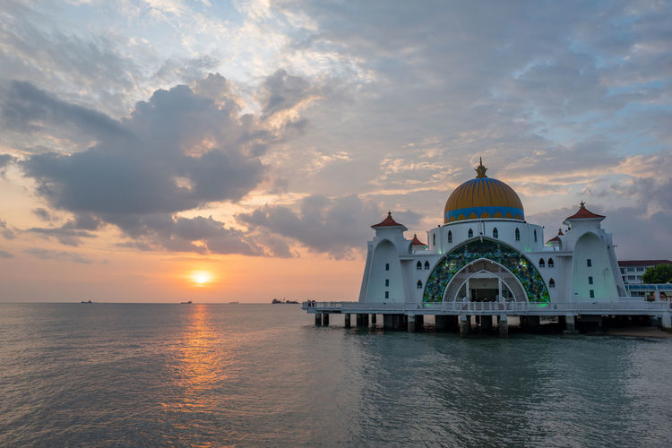 Malacca Sky Sunset Dome Religion Water Cloud - Sky Built Structure Architecture Spirituality Building Exterior Belief Place Of Worship Waterfront Building Travel Destinations No People Nature Outdoors Mosque