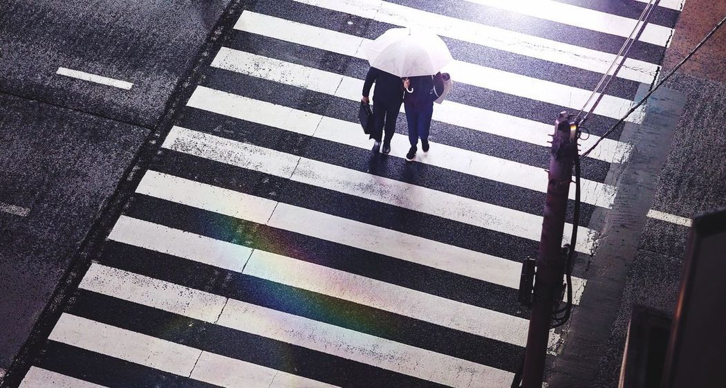 Top view of a couple with white umbrella crossing city road at night. EyeEm Gallery EyeEm Best Shots White Umbrella Couple Walking Couple Zebra Crossing Striped Road Marking Walking Safety Protection Street Crossing High Angle View Road Pedestrian Adult City Life