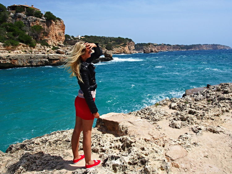 Beach Beachphotography Beautiful Woman Beauty In Nature Blondgirl Calalombards Cliff Czechgirl Full Length Horizon Over Water Lifestyles Majorca Mallorca Nature Onthebeach Rock Formation Sea Standing Sunlight Travel Destinations Travelgirl Travelling Trip Water Young Women Live For The Story