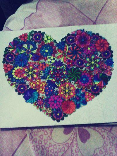 рисунок сердечко цветочки