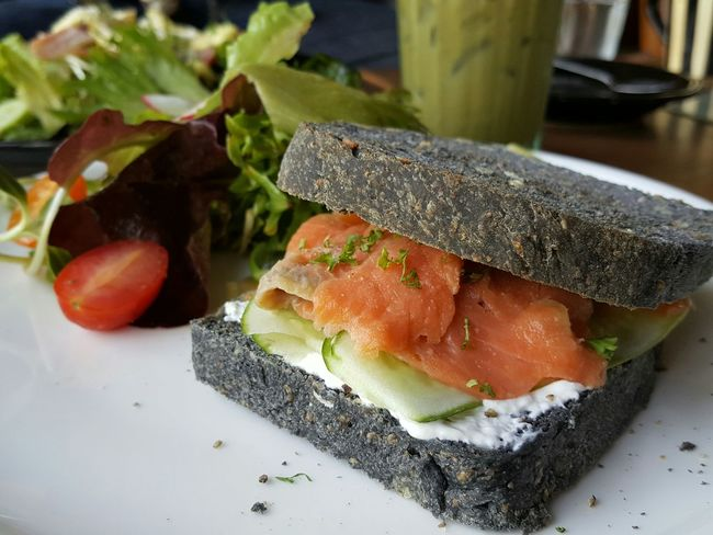 Charcoal Homemade Bread Salmon Sandwich Healthy Food Quick Meal Easy Cook Healthy Yummy