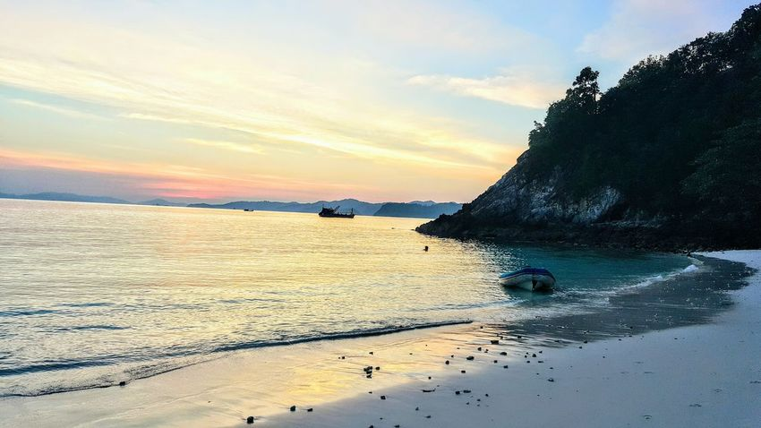 Water Sea Sunset Reflection Beach Travel Destinations Outdoors Horizon Over Water Tranquility Beauty In Nature Sky Sand Myanmar Burma Mergui Mergui Archipelago Tranquility Serene Outdoors Travel Photography Today's Hot Look Serenity Nature Scenics Landscape Travel