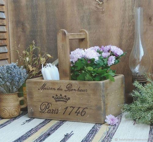 Country Life ящик деревянный дом кантристайл прованс короб Flower Head Bouquet Gift Wood - Material Greeting Card  Text Celebration Table Close-up
