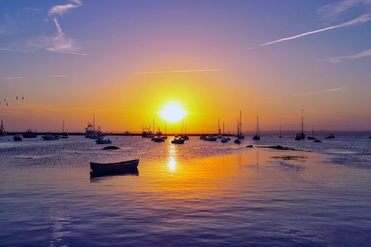 Water Sky Sunset Sea Nautical Vessel Transportation Scenics - Nature Cloud - Sky Beach Outdoors Sun Idyllic No People Sailboat Nature Tranquility Tranquil Scene Mode Of Transportation Reflection Beauty In Nature