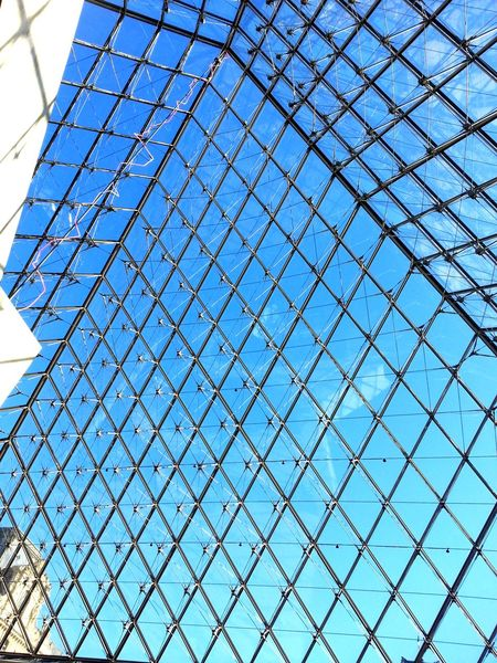 Metal Pattern Outdoors Full Frame Blue Crisscross Museum Louvre Monalisa Paris ❤