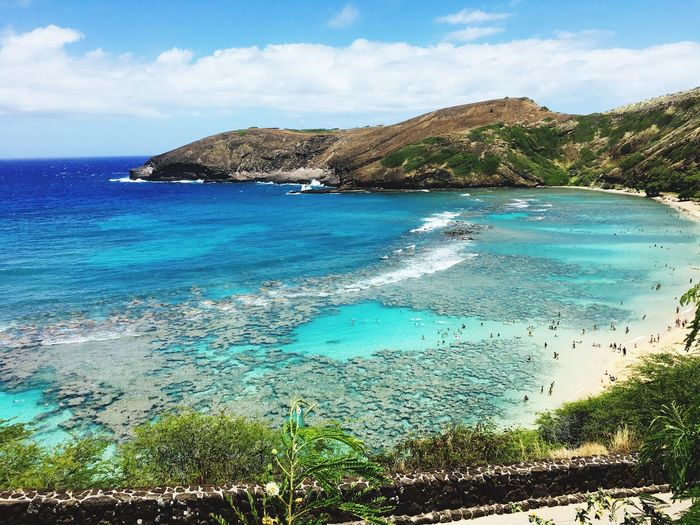 Hanauma bay Sky Water Sea Beauty In Nature Cloud - Sky Scenics - Nature Beach Nature Tranquility Day Outdoors Turquoise Colored