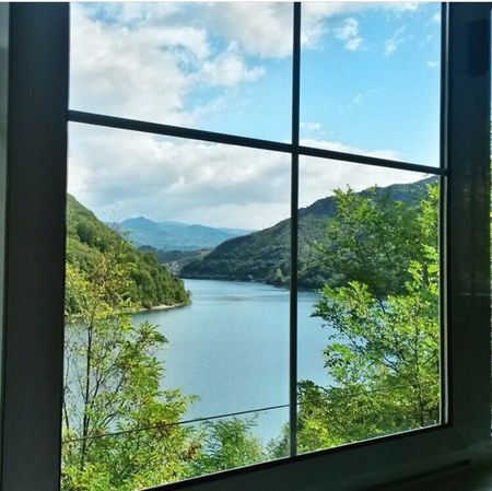 Window Tree Indoors  Lake Scenics Water Mountain Tranquil Scene Sky Tranquility Nature Beauty In Nature Cloud - Sky Calm Window Frame Green Color Majestic Mountain Range No People Bosnahersek New Photography Photo
