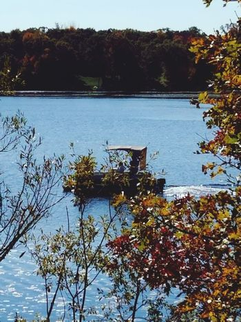 Water Autumn Lake Reflection Outdoors Nature Day Pontoon Boat Sky