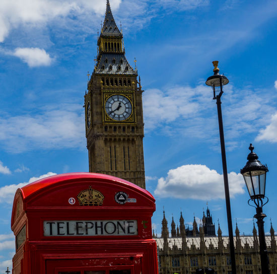 Clock Tower Travel Destinations Red Tower Telephone Booth Architecture Cloud - Sky Sky Outdoors Clock Face Building Exterior London Red EyeEm LOST IN London Capital Cities  Streetphotography No People Postcode Postcards