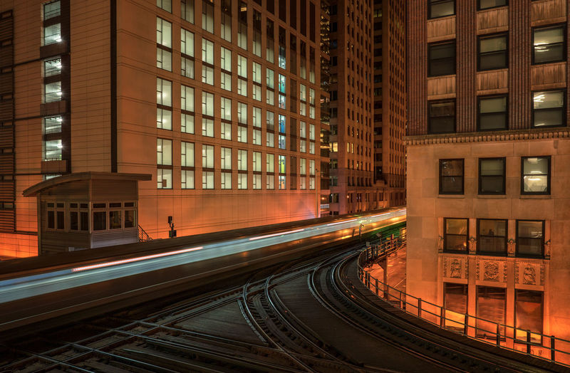 Chicago loop at night Architecture Building Exterior Built Structure City Railroad Track Track Rail Transportation Transportation Night No People Building Illuminated Speed Motion Mode Of Transportation Long Exposure Skyscraper Public Transportation Chicago The Loop