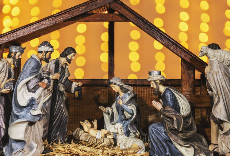 Large Group Of Objects Art And Craft Representation Real People Statue Sculpture Illuminated Architecture Occupation Working Creativity Indoors  Craft People Wood - Material Christmas Nativity Scene Baby Jesus Mary Sheperd