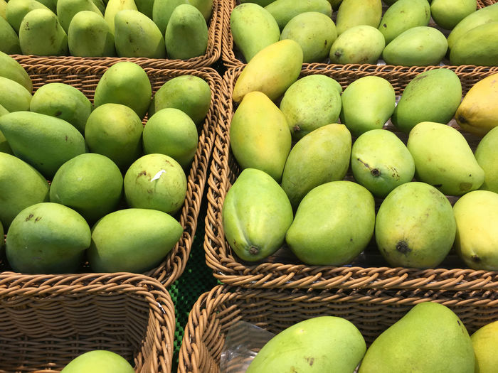 High angle view of mangoes in basket for sale