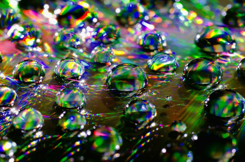 Abstract image of oil bubbles with light reflection