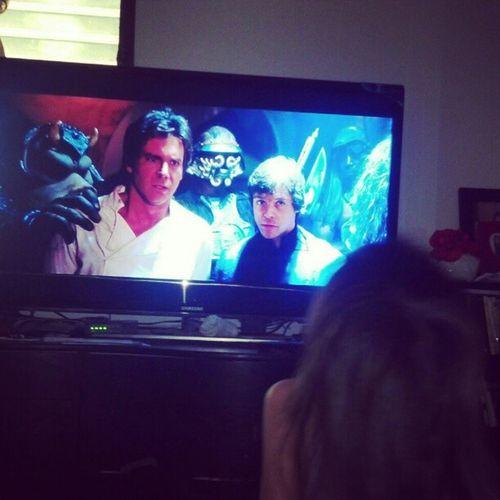 Watching Return of the Jedi with the Ia. Familylife Starwars Jedi Hansolo jabba