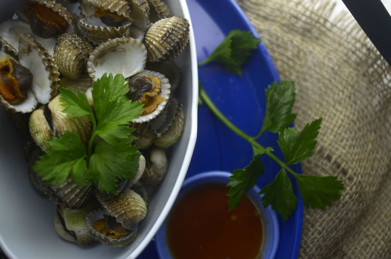 Directly Above Leaf Indoors  Table Food Close-up Freshness Seafood Shell Cockles Soup Bowl Ready-to-eat Delicious Gunnysack Dipping Sauce