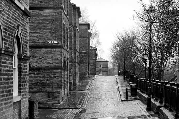 Built Structure Architecture The Way Forward Building Exterior Outdoors Day Tree No People City Sky Saltaire Bradford Cobblestone Streets POV Yorkshire Perspective Monochrome Buildings Rows Of Houses Street Photography Streets Residential Building Architecture Black & White Black And White