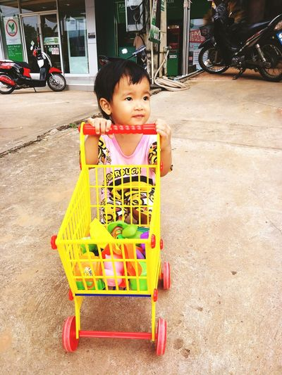 baby go to shopping Childhood Full Length Smiling Cute Babyhood Toy Car Carousel Babies Only Newborn One Baby Boy Only Baby Carriage Shopping Cart