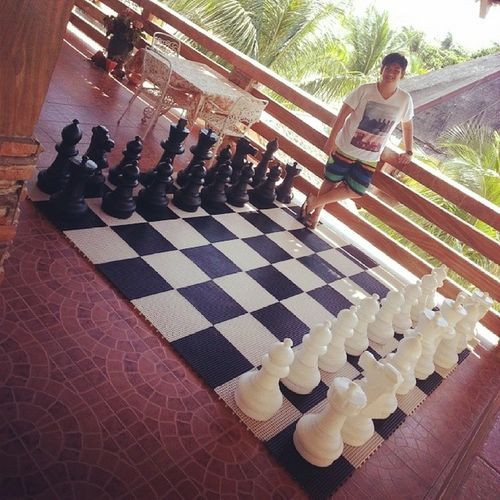 I seldom post pictures of myself but upon seeing this (well, being a chess player) made me want to instantly take a pic of this :) Antique Lepalmebeachresort Chess