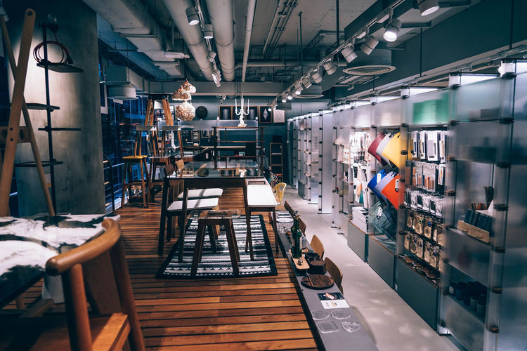 Vivid Store Interior Architecture Bright Center Colourful Consumers Convenience Families Modern Shopping Businesses Chairs Clean Commerce Contemporary Customers Glass - Material Interior Lighted Mall Men Open Panels Shoppers Tables Wood-flooring