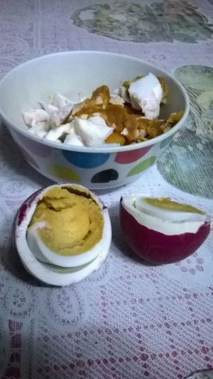 Kain po tayo (let's eat) salted duck eggs with tomatoes Philippines