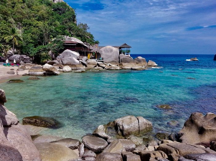 Island Travel Tourism Kohtao Thailand Dive Fish Blue Relaxing Bay View Island Landscape Sea Water Beach Land Sky Beauty In Nature Scenics - Nature Rock - Object Horizon Over Water No People Nature Rock Tranquil Scene Solid Cloud - Sky Tree Plant Sunlight