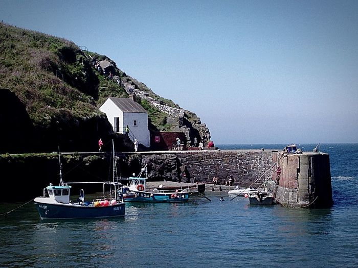 The Essence Of Summer Summer British Seaside Sunshine ☀ No People IPhone Photography Pembrokeshire Coast Daytime Sea View Harbourside Boats Harbour Side Ocean wall Porth Gain