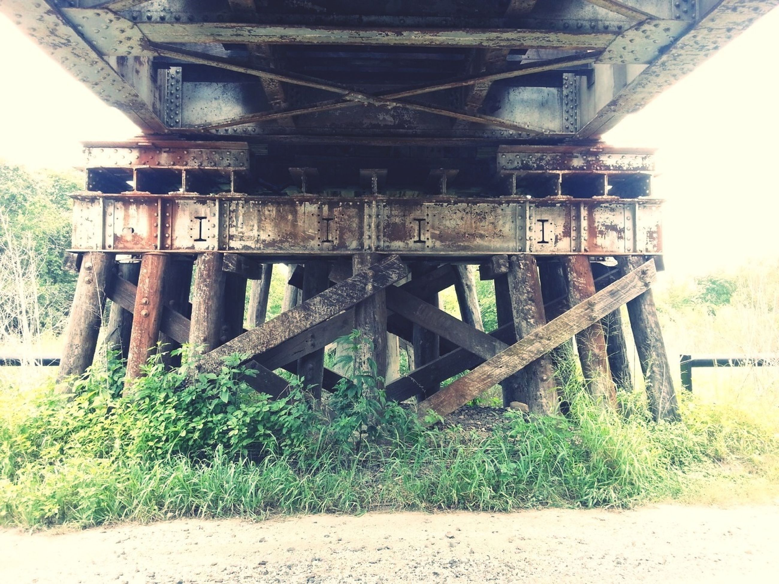 built structure, architecture, abandoned, bridge - man made structure, field, tree, old, obsolete, grass, connection, run-down, low angle view, damaged, transportation, wood - material, clear sky, deterioration, day, no people, outdoors