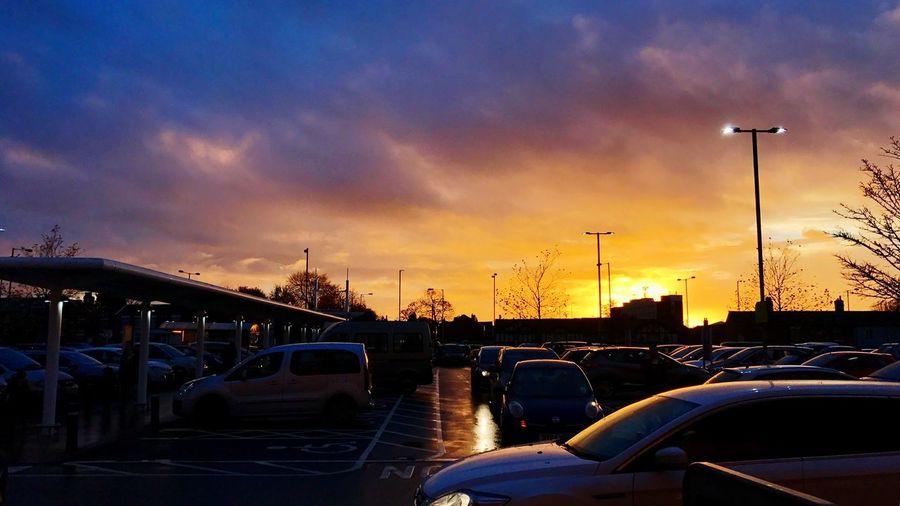 Hazel Grove in Stockport. Car Sunset Sky Cloud - Sky Outdoors
