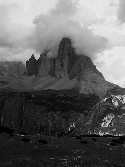 Trecimedilavaredo Tre Cime Di Lavaredo Dreizinnen Blackandwhite Black And White Black & White Blackandwhite Photography Italy Sky Nature Mountain Rock - Object Day Scenics No People Outdoors Tranquility Beauty In Nature Landscape Feeling Thankful Taking Photos Monochrome Mountains Dolomites, Italy