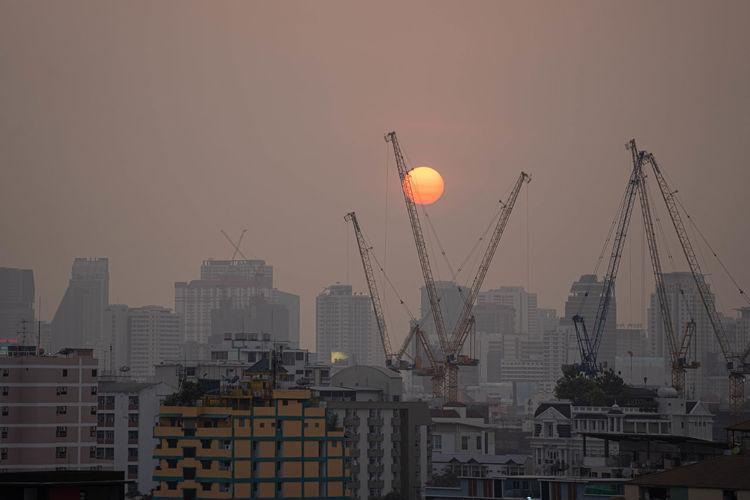 Pm2.5 unhealthy air pollution dust smoke in the urban city bangkok
