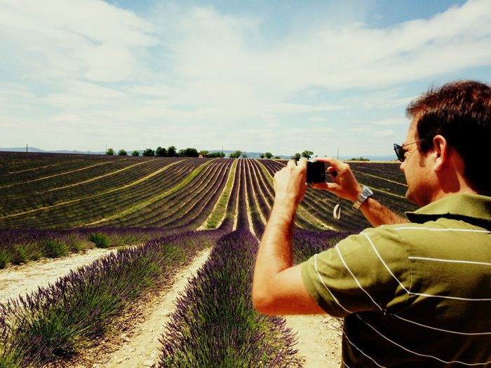 Shooting lavander Beautiful Destinations Beautiful Nature Good Life Shoot Shooting Photos Holiday Purple Purple Flower Flower Provence France Valensole Plateau Valensole Lavanda Sky One Person Land Real People Nature Field A New Perspective On Life