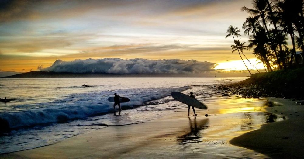 Surfers at