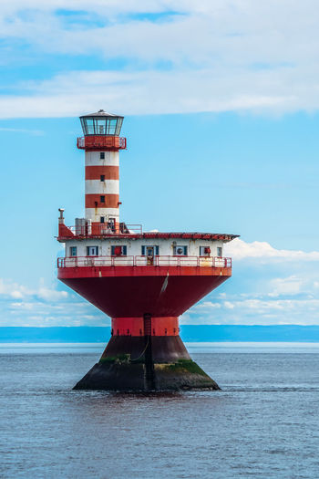 Haut-fond Prince (Prince Shoal) Lighthouse - Tadoussac, Quebec 18-105mm Lighthouse Sky And Clouds Sony A6300 St-Lawrence Seaway Tadoussac, Canada Tourist Attraction  Travel Beauty In Nature Canada Coast To Coast Cloud - Sky Clouds And Sky Day Horizon Over Water Nature Nautical Vessel No People Outdoors River Scenics Sea Sky Tadoussac Tourism Tourist Destination Tranquil Scene Tranquility Travel Destinations Water