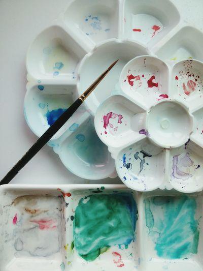 Watercolor Colors Mixcolour Blue Green Color Red Color Art