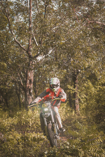 Man riding motorcycle against trees in forest