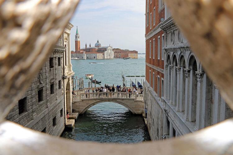 Venice canal from a window on ponte dei sospiri
