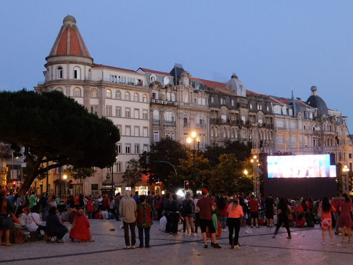 City Street Euro 2016 Green & Red Large Group Of People Mixed Age Range Porto Portugal Togetherness Watching Tv People Together