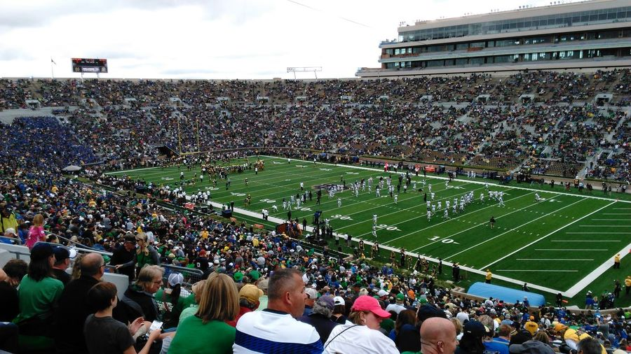 30 min until kick off... Our World Thru My Eyes Ourbestshots Large Group Of Objects Big Crowd College Football Go Irish